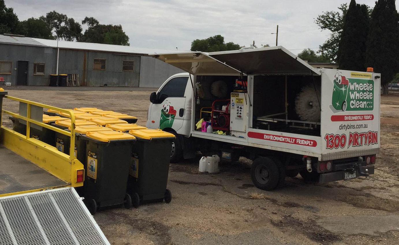 Wheelie Wheelie Clean - Bin Cleaning truck in action cleaning multiple bins in Australia